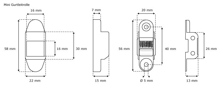 JAROLIFT®™ Rollladen Mini-Gurtleitrolle weiss inkl. Bürstendichtung - Abmessungen