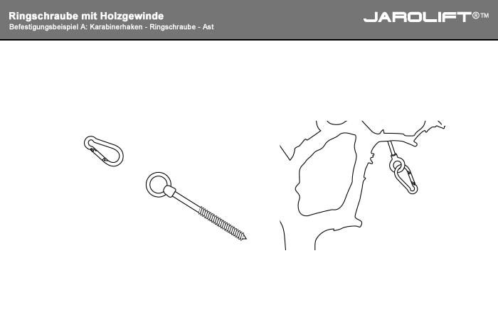A: Karabinerhaken - Ringschraube - Ast