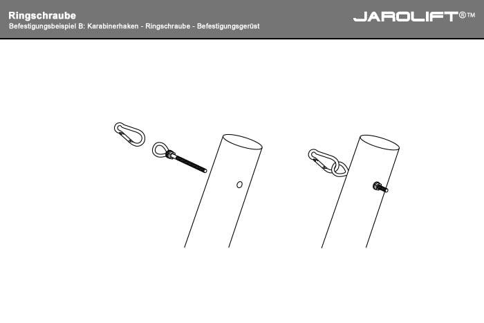 B: Karabinerhaken - Ringschraube - Befestigungsmast