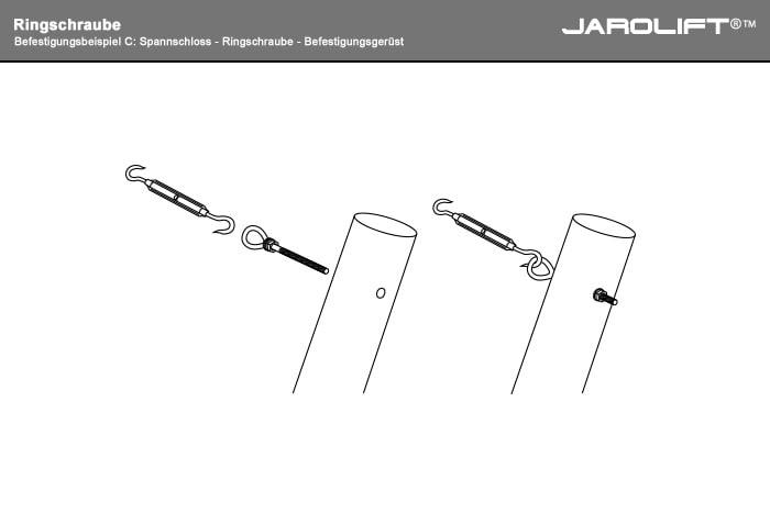 C: Spannschloss - Ringschraube - Befestigungsmast