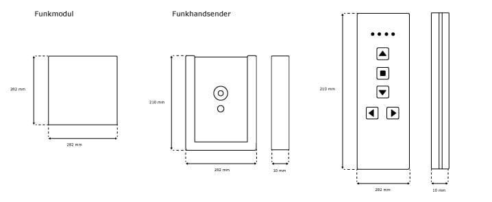 Jarolift iWiSo Funkhandsender Upgrade Set - Abmessungen