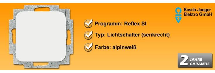 busch jaeger reflex si lichtschalter 2506 214 2000 6us. Black Bedroom Furniture Sets. Home Design Ideas