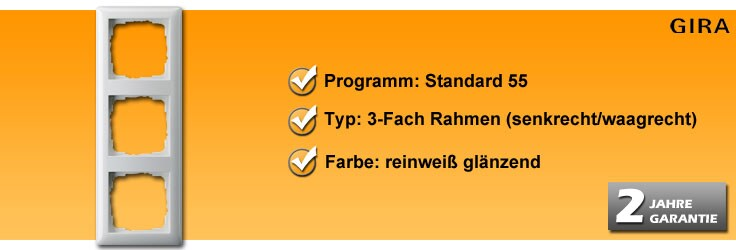 Rahmenprogramm Gira Standard 55 3-Fach Rahmen (21303)