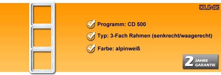Rahmenprogramm Jung CD 500 3-Fach Rahmen (CD 583 WW)
