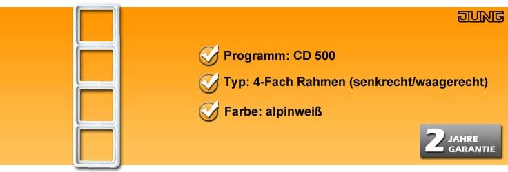 Rahmenprogramm Jung CD 500 4-Fach Rahmen (CD 584 WW)