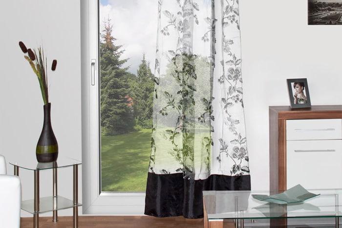 2x schlaufenschal gardine voile flockvorhang blumen deko store mit taft bord re ebay. Black Bedroom Furniture Sets. Home Design Ideas