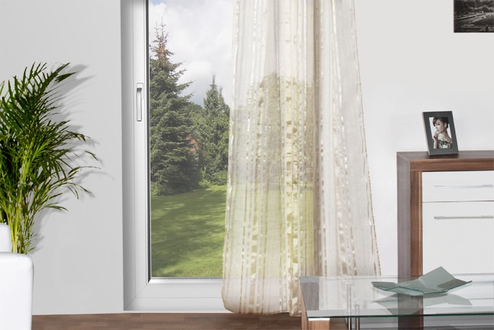 pailletten store voile schlaufenschla vorhang deko glitzer fenster gardinen ebay. Black Bedroom Furniture Sets. Home Design Ideas