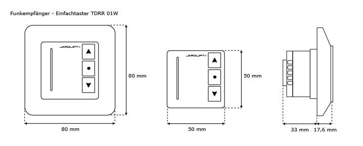 1-Kanal Funkempfänger - Einfachtaster TDRR 01W Abmessungen