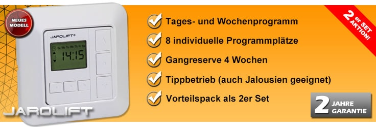 Zeitschaltuhr Sevenlogic Comfort Jarolift 8 Programmplätze 2er Set